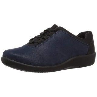 CLARKS Women's Sillian Pine Walking Shoe - navy synthetic - 5.5