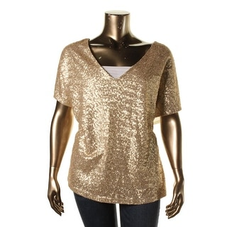 Three Dots Womens Plus V-Neck Paillettes Pullover Top - 1X