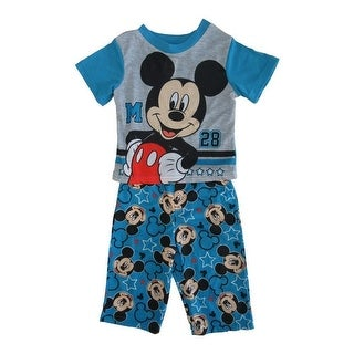 Disney Little Toddler Boys Blue Mickey Mouse Short Sleeve 2 Pc Pajama