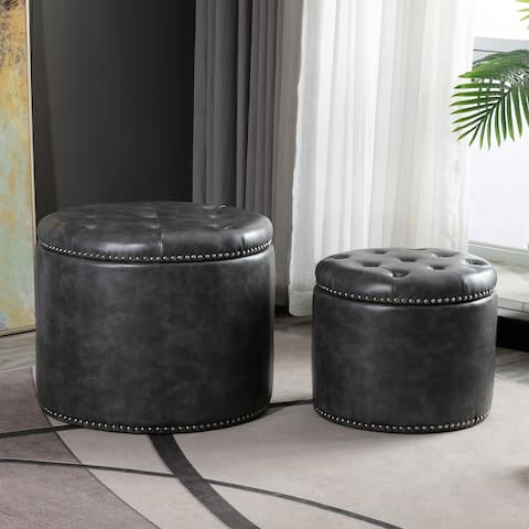 Oscar Upholstered Storage Ottomans, Distressed Grey and Silver