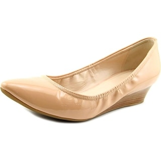 Cole Haan Elsie Luxe Women Open Toe Patent Leather Nude Wedge Heel