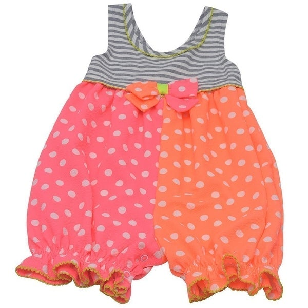 Baby Girls Pink Orange Dot Pattern Bow Accent Stripe Romper 3M