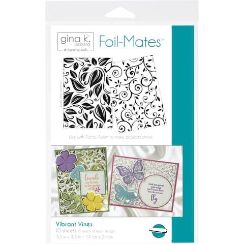 "Gina K Designs Foil-Mates Background 5.5""X8.5"" 10/Pkg-Vibrant Vines, 2 Designs/5 Each"