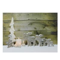 "LED Lighted Country Rustic Reindeer and Candles Christmas Canvas Wall Art 12"" x 15.75"""