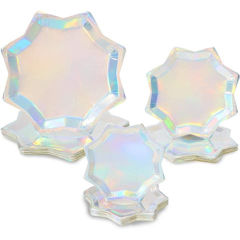 Holographic Octagon Shaped Party Plates, Iridescent Plates in 3 Sizes (72 Pack)
