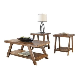 bradley burnished brown occasional table set t39213 set of 3 bradley burnished brown