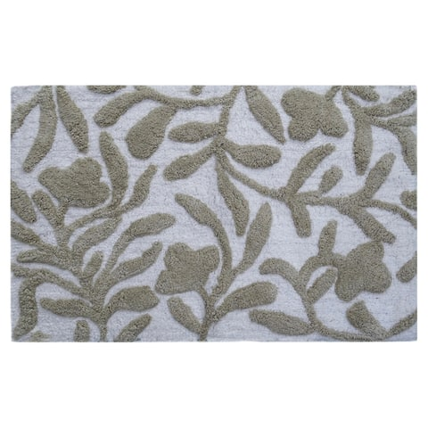 """CHICOS HOME Bath Rug Floral Pattern in Beige & Ivory 20"""" x 32"""""""