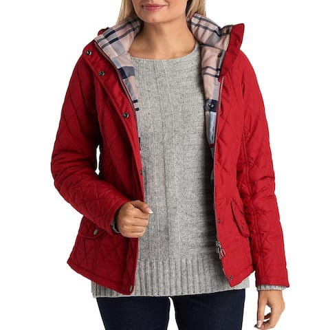 Barbour Womens Millfire Quilted Coat Cold Weather Plaid - Chilli Red - 4
