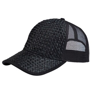 Low Profile Structured Mesh Straw Trucker Cap