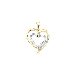 Twin Pendant Two-Tone 14K Yellow-gold and White Gold With Diamonds 0.03 Ctw By MidwestJewellery
