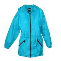 ShedRain Women's Packable Fashion Teal Color Anorak Rain Jacket - s/m-4/6