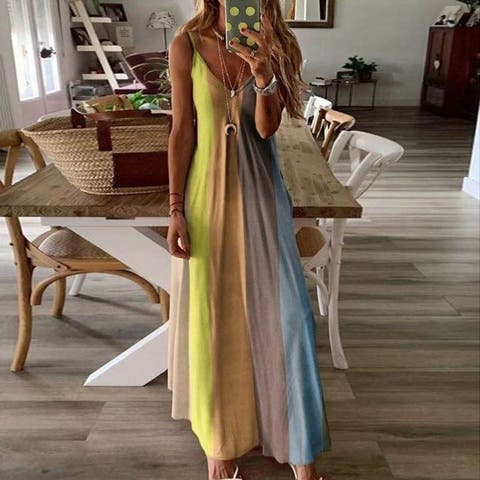 2021 New Long Colorful Sling Print Dress