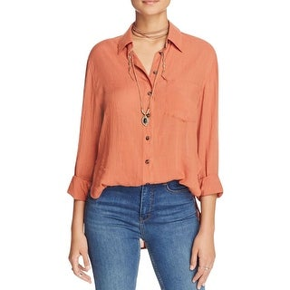Free People Womens Button-Down Top Sheer Long Sleeves