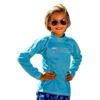 Sun Emporium Little Boys Aqua Multi Panel Long Sleeve Rash Guard