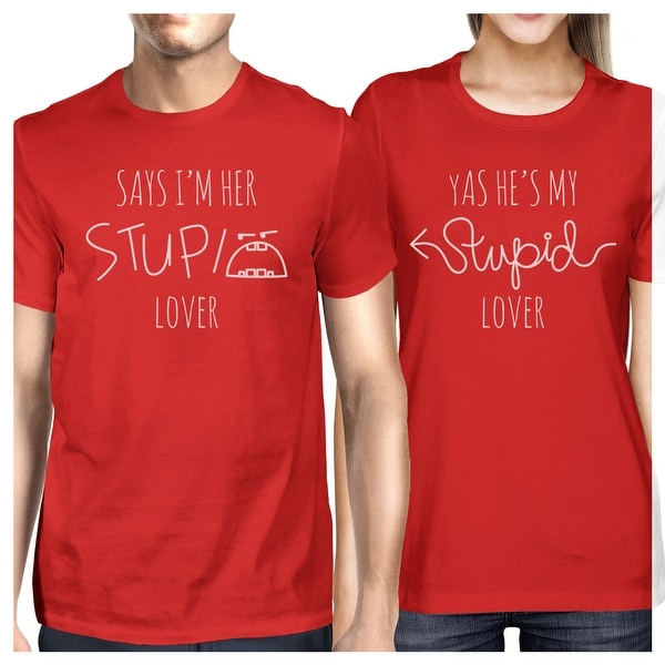 b8059315478 Shop Stupid Lover Red Matching Couple T-Shirts Short Sleeve Cotton Tee - On  Sale - Free Shipping On Orders Over  45 - Overstock - 23001125