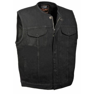 Mens Denim Collarless Hidden Zipper MC Vest