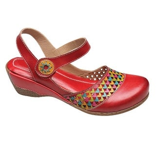 Women's Slingback Shoes - Cutwork Heart Red Clogs