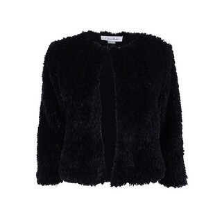 Calvin Klein Women's Faux-Fur Cropped Jacket - Black