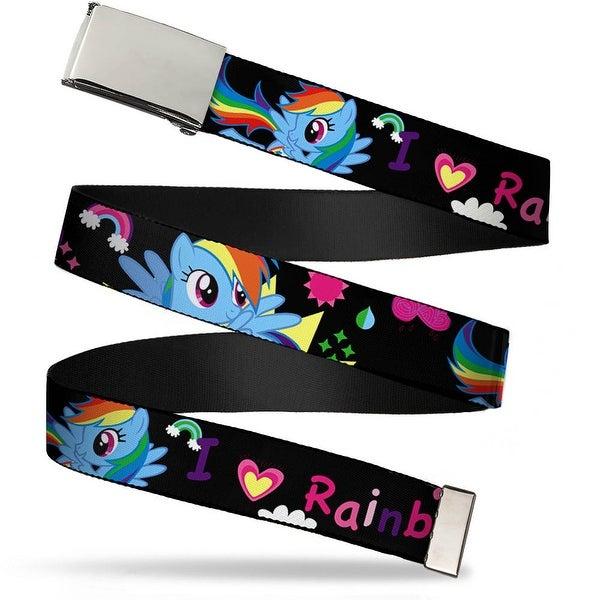 "Blank Chrome Buckle I ""Heart"" Rainbow Dash Black Pinks Webbing Web Belt"