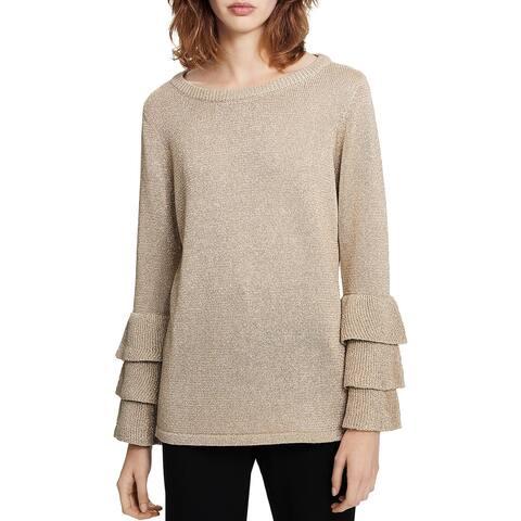 Calvin Klein Womens Crewneck Sweater Metallic Tiered