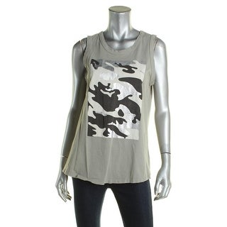 Sundry Womens Tank Top Camouflage Distressed - 3