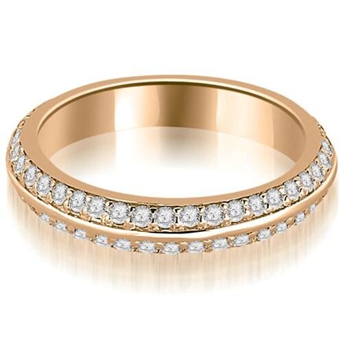 0.40 cttw. 14K Rose Gold Knife Edge Round Cut Diamond Wedding Band