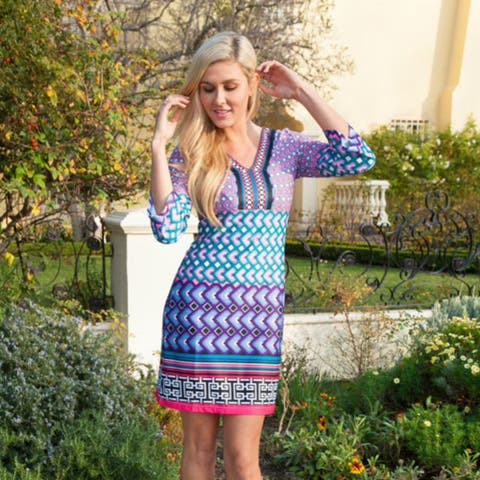 Khloe Printed Dress - Teal