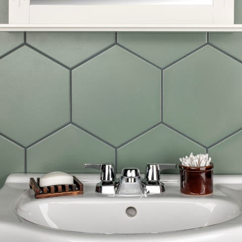 "SomerTile Textile Hex Kale 8.63"" x 9.86"" Porcelain Floor and Wall Tile"