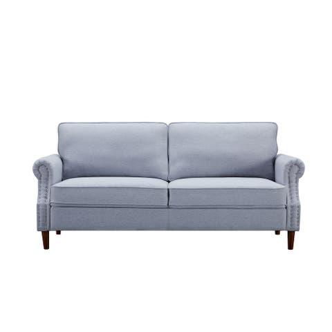 Magdalyn 30.7'' Linen Round Arm Sofa - 33.9'' H x 30.7'' W x 76.4'' D