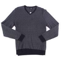 Alfani Black Mens Size Large L V-Neck Ribbed Pullover Sweater