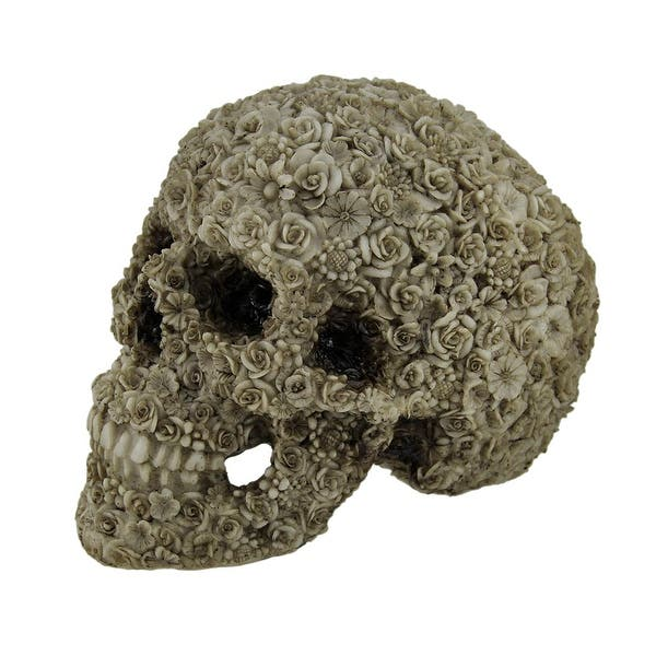 Shop Late Bloomer Flower Covered Human Skull Statue 5 5 X 7 25 X