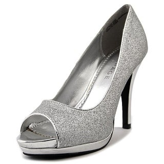 Rampage Gracee Women  Peep-Toe Canvas Silver Heels