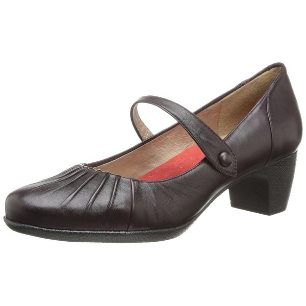 Softwalk NEW Brown Shoes Size 7N Pleated Mary Janes Leather Heels