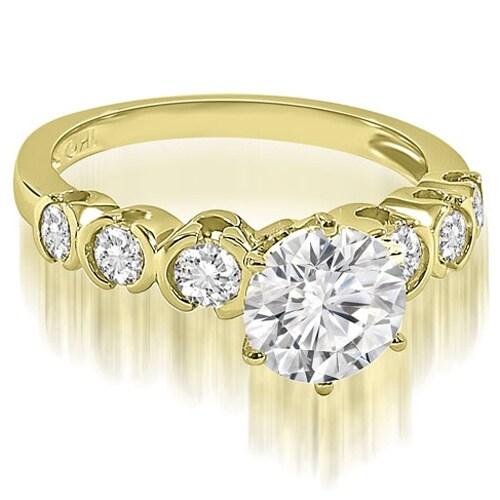 1.10 cttw. 14K Yellow Gold Round cut Bezel set Diamond Engagement Ring