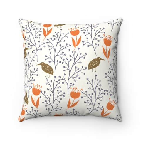 White and Orange Abstract Botanical Reversible Throw Pillow Cover