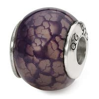 Sterling Silver Reflections Purple Cracked Agate Stone Bead (4mm Diameter Hole)