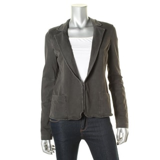 Three Dots Womens French Terry Elbow Patches Casual Blazer - M