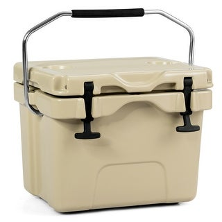 Costway 16 Quart Cooler Portable Ice Chest Leak-Proof 24 Cans Ice Box for Camping Khaki