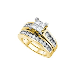 14kt Yellow Gold Womens Natural Diamond Princess Bridal Wedding Engagement Ring Band Set 1 & 1/2 Cttw - White