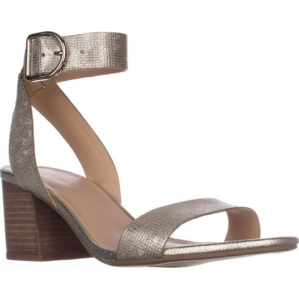 Franco Sarto Marcy Ankle Strap Block-Heel Sandals, Platino