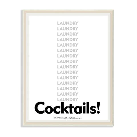 Stupell Industries Laundry And Cocktails Funny Word Design Wood Wall Art