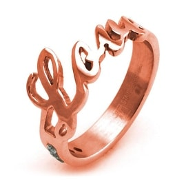 Stainless Steel Rose Gold Plated Love Ring