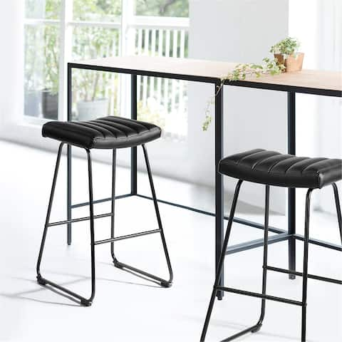 Furniture R Counter & Bar Stool With Two-tone Color PU Upholstery