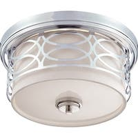 "Nuvo Lighting 60/4627 Harlow 2-Light 13-3/8"" Wide Flush Mount Drum Ceiling Fixture - Polished Nickel"