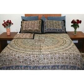 Handmade Cotton Reversible Duvet Cover Kalamkari 100-percent Cotton Twin Full Queen King Pillow Sham