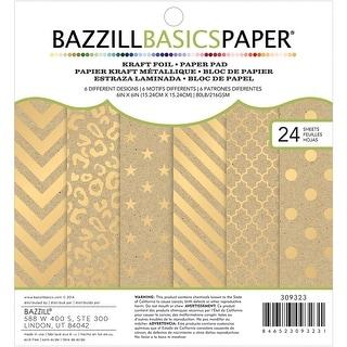 """Bazzill Basics Cardstock Pad 6""""X6"""" 24/Pkg-Kraft W/Gold Foil"""