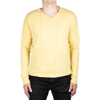 Prada Men's Jersey Cotton Round V-Neck Logo Long Sleeve T-Shirt Mustard Yellow