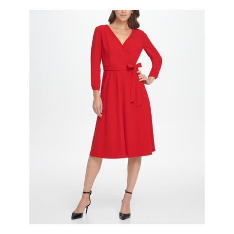 DKNY Womens Red Cuffed Below The Knee Fit + Flare Dress Size 12