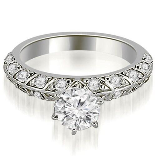 1.10 cttw. 14K White Gold Antique Round Cut Diamond Engagement Ring