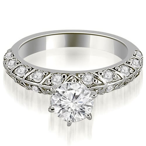 1.60 cttw. 14K White Gold Antique Round Cut Diamond Engagement Ring